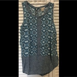 Lucky Brand Teal Geometric Pattern Sleeveless Blou